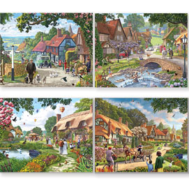 Village Life 4-in-1 Multi-Pack 300 Large Piece Puzzle Set
