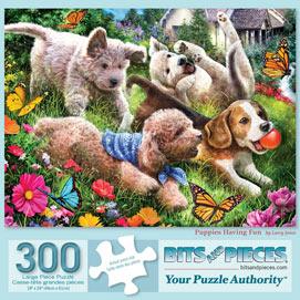 Puppies Having Fun 300 Large Piece Jigsaw Puzzle