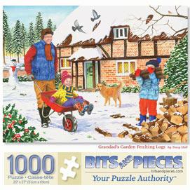 Grandad's Garden Fetching Logs 1000 Piece Jigsaw Puzzle