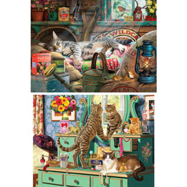 Set of 2: Comfy Cozy Cat 1000 Piece Jigsaw Puzzles