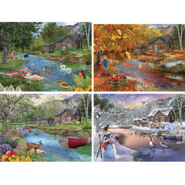 Set of 4: Bigelow Illustrations 1000 Piece Jigsaw Puzzles