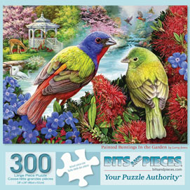 Painted Buntings In The Garden 300 Large Piece Jigsaw Puzzle