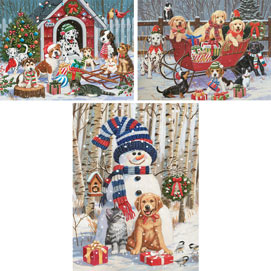 Preboxed Set of 3: William Vanderdasson Holiday Fun 300 Large Piece Jigsaw Puzzles