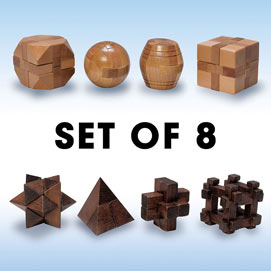 Set of 8: Natural and Dark Wood Wooden Puzzles