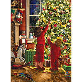 Children Decorating the Christmas Tree 1000 Piece Glitter Effects Jigsaw Puzzle