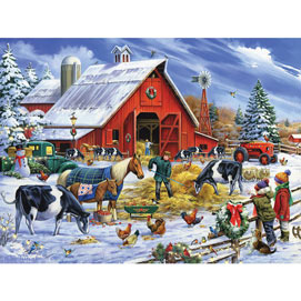 Christmas In The Farmyard 300 Large Piece Jigsaw Puzzle