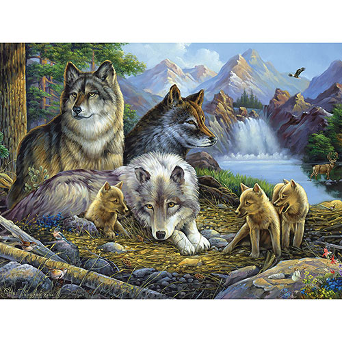 Wolves At The Waterfall 300 Large Piece Jigsaw Puzzle