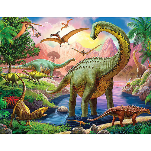 World Of Huge Dinosaurs 200 Large Piece Jigsaw Puzzle