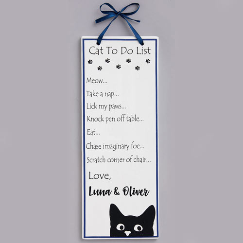 Personalized Cat To Do List Plaque