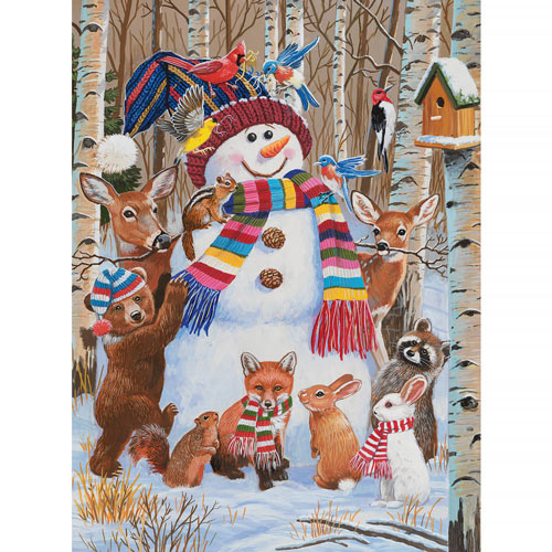 Forest Animals Decorating A Snowman 500 Piece Jigsaw Puzzle