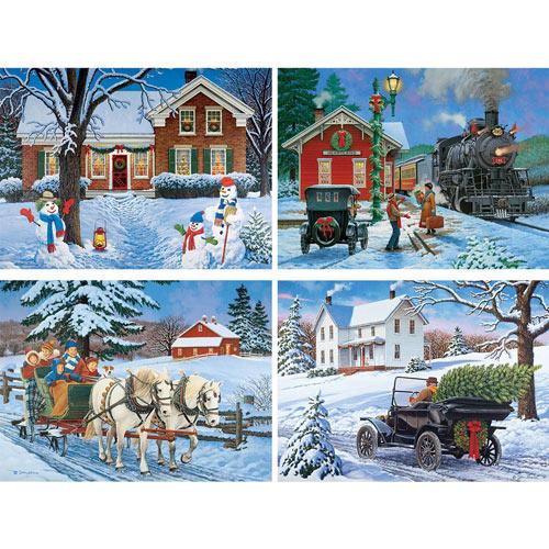 Set of 4: John Sloane Holiday 500 Piece Jigsaw Puzzle