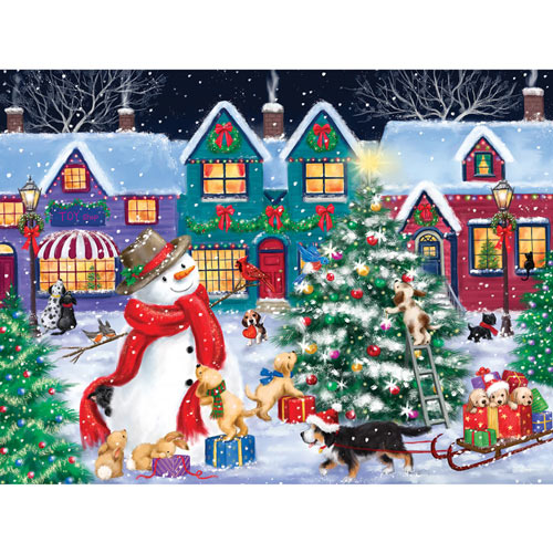 Snowman And Dogs Christmas Street 300 Large Piece Jigsaw Puzzle