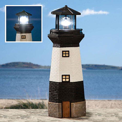 Small Solar Lighthouse Garden Sculpture