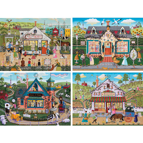 Set of 4: Joseph Holodook 300 Large Piece Jigsaw Puzzles