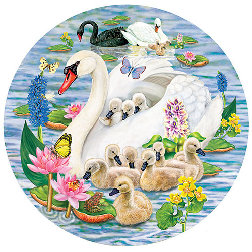 Swans and Cygnets 1000 Piece Round Puzzle
