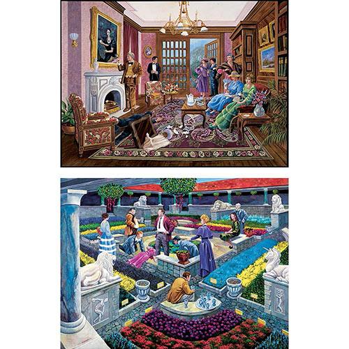 Set of 2: Murder Mystery 1000 Piece Story Jigsaw Puzzles