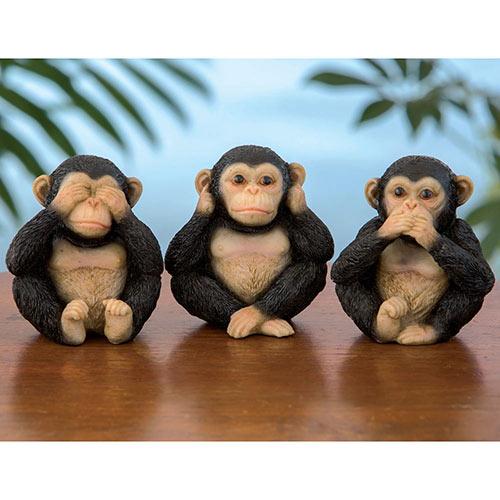 Set of 3: Three Little Monkeys Figurines