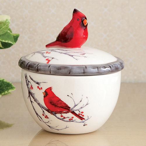 Ceramic Cardinal Trinket Box