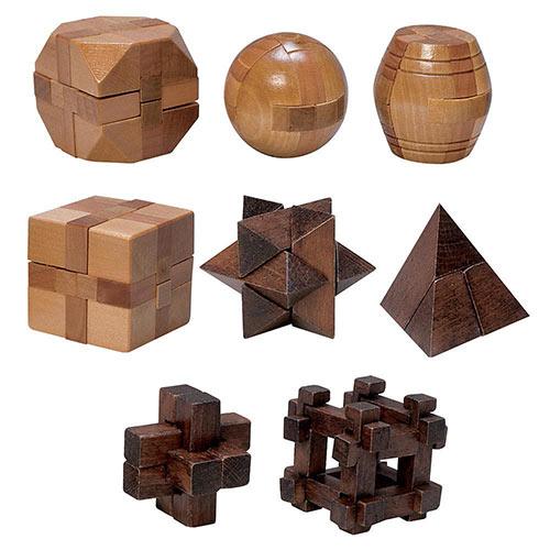 Set of 8: Classic Mini Wooden Brainteasers