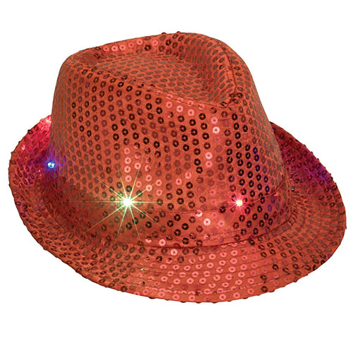 Red LED Flashing Sequin Hat