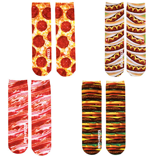 Set of 4: Favourite Foods Colourful Printed Crew Socks Collection