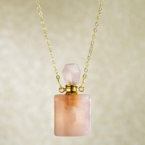 Perfume Bottle Pendant Necklace - Rose Quartz