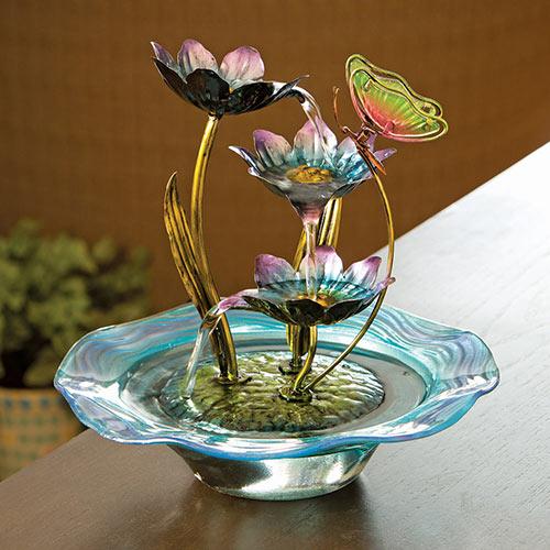 Iridescent Glass Butterfly Fountain