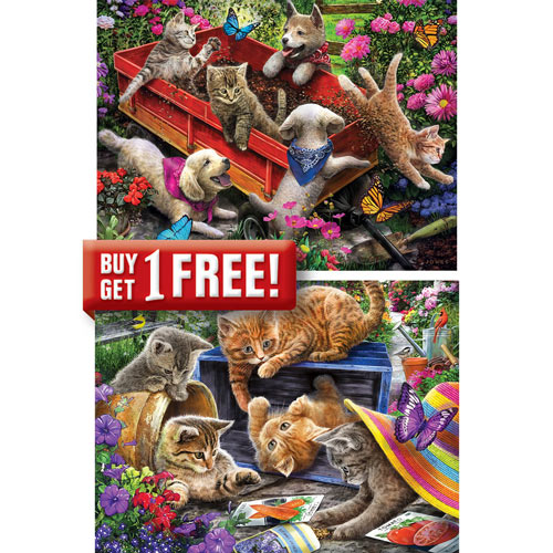 Set of 2: Larry Jones 300 Large Piece Jigsaw Puzzles