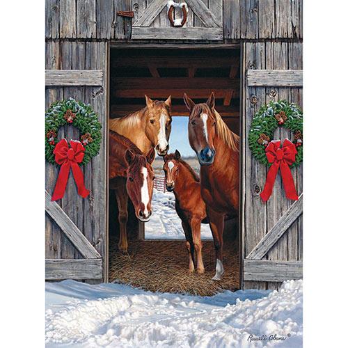 Horse Barn Christmas 1000 Piece Jigsaw Puzzle