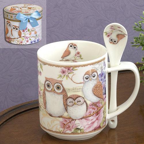 Owls - Ceramic Mug & Spoon Set