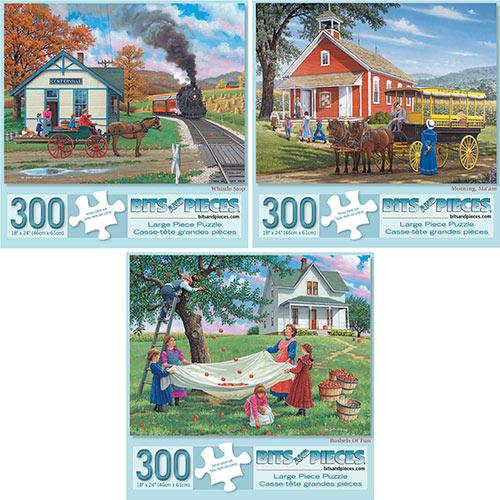 Set of 3 Pre-Boxed: John Sloane 300 Large Piece Jigsaw Puzzles
