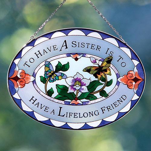 Sister Art Glass Suncatcher