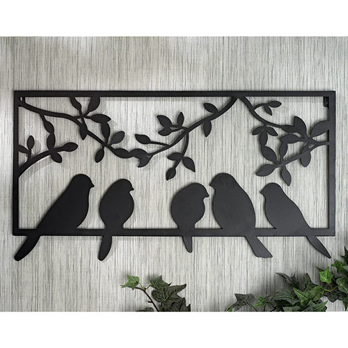 Perched Birds Metal Wall Art
