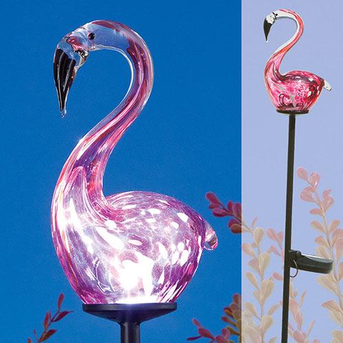 Blown Glass Flamingo Solar LED Garden Stake