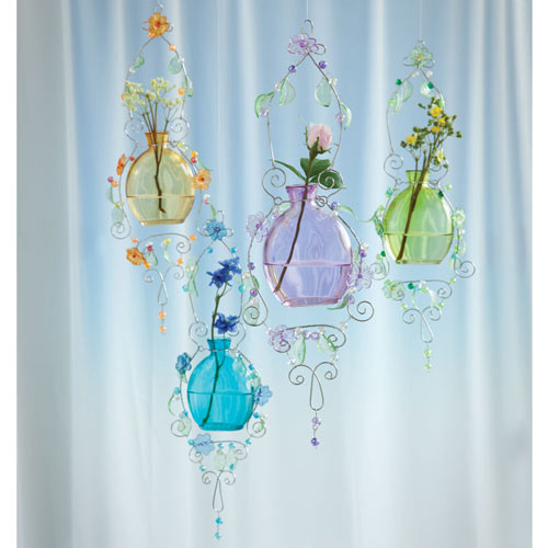 Set of 4: Pastel Glass Rooter Hanging Vases