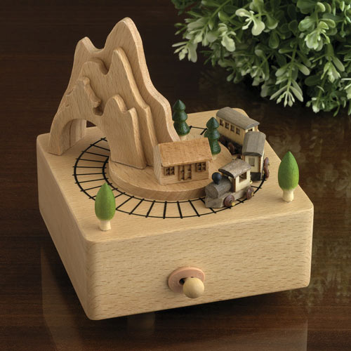 Moving Train Wooden Music Box - Oh What A Beautiful Morning