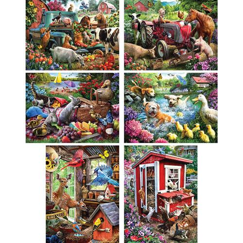 Set of 6: Larry Jones 300 Large Piece Jigsaw Puzzles