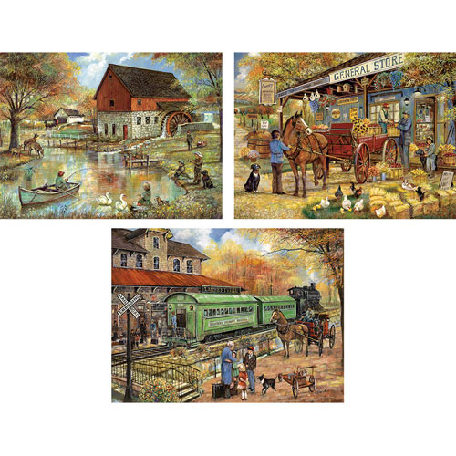 Set of 3: Ruane Manning 300 Large Piece Americana Jigsaw Puzzles