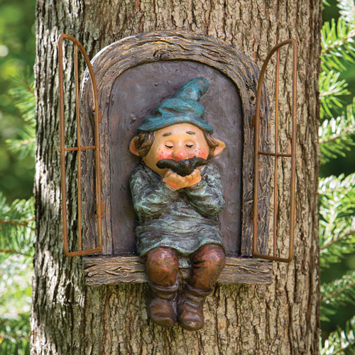 Elf On A Windowsill With Bird Tree Hugger