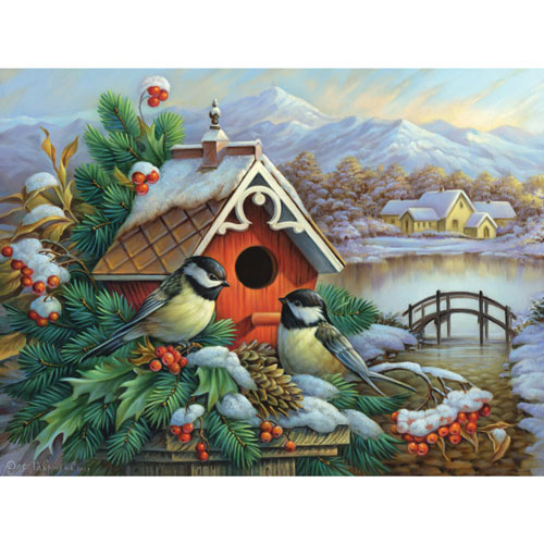 Red Birdhouse And Chickadees 500 Piece Jigsaw Puzzle
