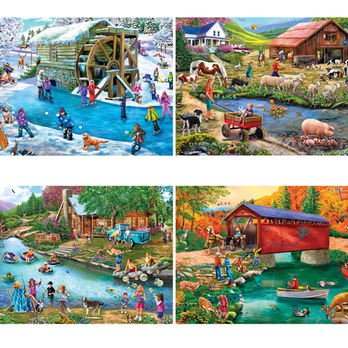 River Escapades 300 Large Piece 4-in-1 Multi-Pack Puzzle Set