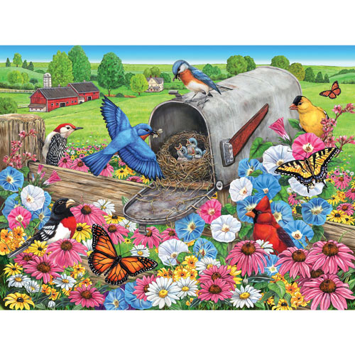 Bluebirds Nesting In The Mailbox 300 Large Piece Jigsaw Puzzle