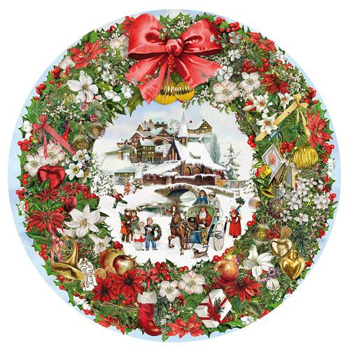 Christmas Wreath 500 Piece Round Jigsaw Puzzle