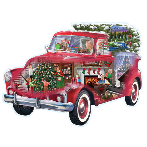 Christmas Truck 750 Piece Shaped Jigsaw Puzzle