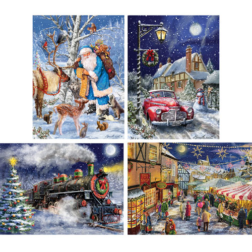 Set of 4: Marcello Corti 300 Large Piece Jigsaw Puzzles