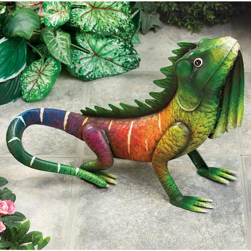 Kiwi the Tropical Iguana Metal Garden Sculpture