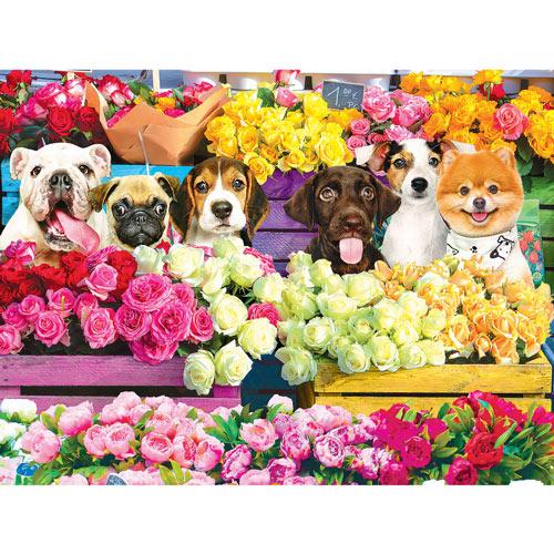 Flower Market Pups 500 Piece Jigsaw Puzzle