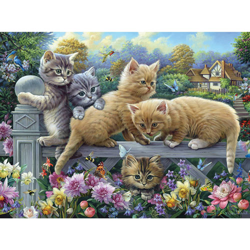 Kittens On A Fence 300 Large Piece Jigsaw Puzzle