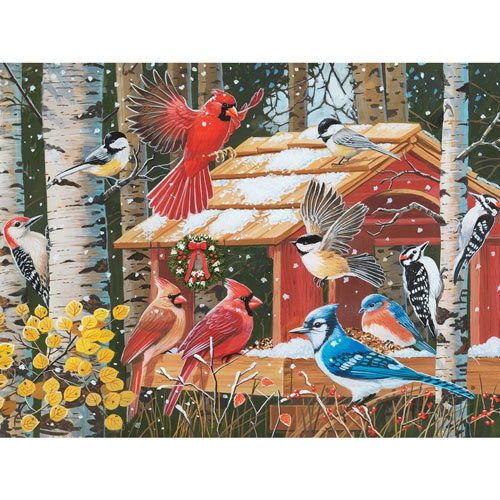 First Snow At The Feeder 300 Large Piece Jigsaw Puzzle