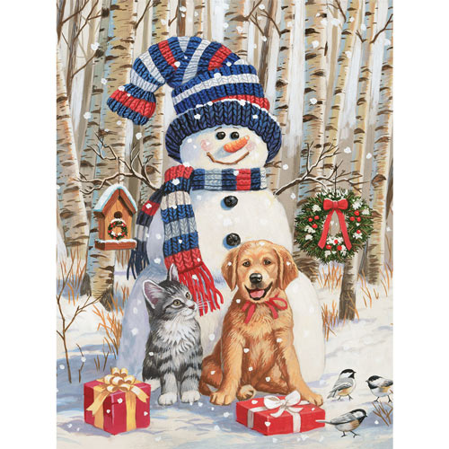 Kitten And Puppy With Snowman 300 Large Piece Jigsaw Puzzle